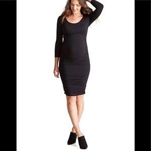 Maternity NWT Black 3/4 Sleeve shirred dress.